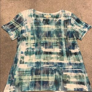 Blue and green burnout top